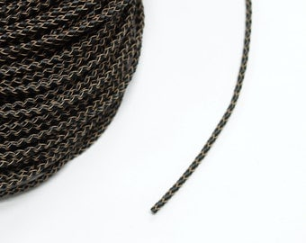 1 metre x 3MM Dark Brown Braided Leather Cord