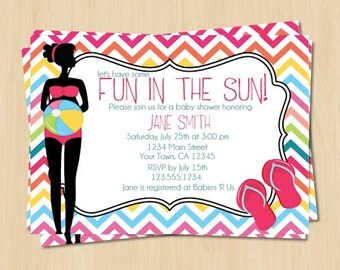 Personalized Summer Printable Baby Shower Invitation - Pregnant Silhouette with Beach Ball and Flip Flops