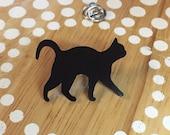 Black Cat Pin, Cat Tie Tack, Cat Lapel Pin, Cat Brooch, Black Cat Jewelry, Tiny Cat Pin