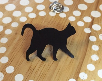 Cat Pin, Cat Tie Tack, Cat Lapel Pin, Cat Brooch, Black Cat Jewelry, Tiny Cat Pin