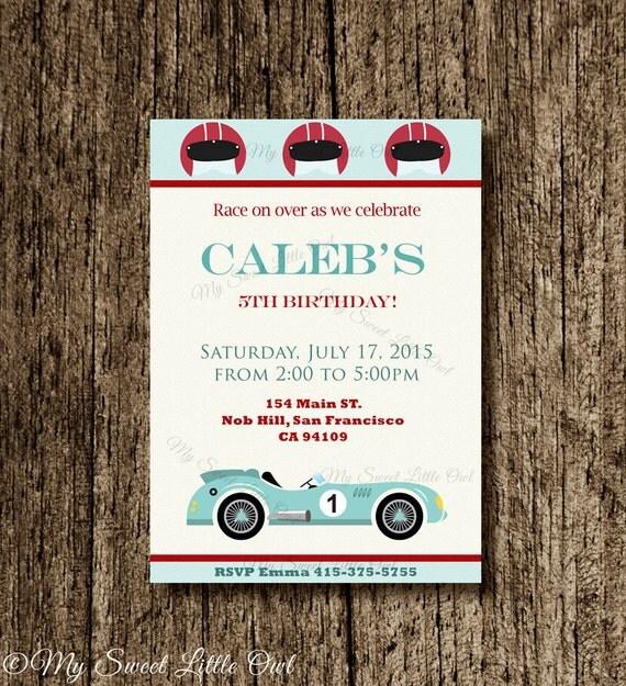 Vintage Race Car invitation blue car invite Race car printable