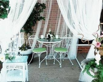 Items similar to Beach Cabana - FREE SHIPPING White Curtain ...