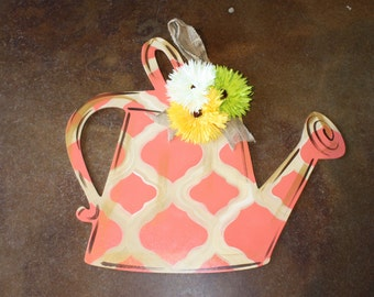 Watering Can Door Hanger - Coral and Distressed Khaki