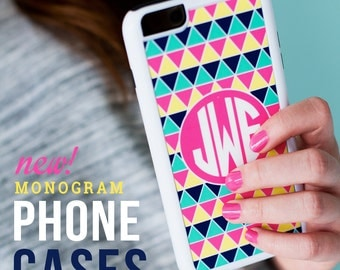Monogram Cell Phone Cases fits Samsung Galaxy S4 / S5 and IPhone 4 / 5 / 6 and 6 Plus (Phone stands also available to match)