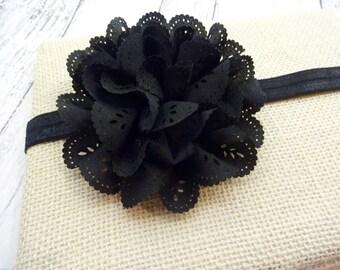 Black Eyelet Flower Baby Toddler Little Girl Headband FOE Fold Over Elastic Chic
