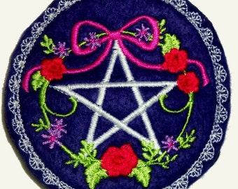 Hair Barrette Pentagram Embroidery Red Roses Wicca Pagan