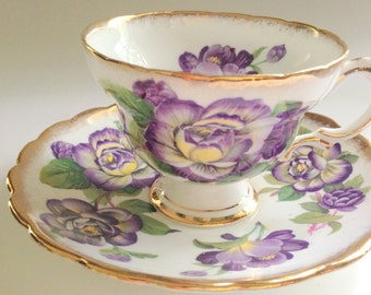 Purple Flowered Rosina Tea Cup and Saucer, Tea Cup, Cup and Saucer, English Bone China Tea Cups, Tea Set, VogueTeam, VExplosion