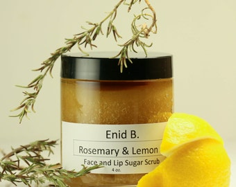 4 oz. Rosemary and Lemon Sugar Face and Lip Scrub
