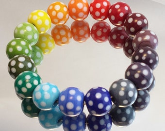 Pick 'n' Mix Polka Dot Handmade Lampwork Round Beads in Rainbow colours - Suitable for earrings, bracelets or lace bobbin spangles