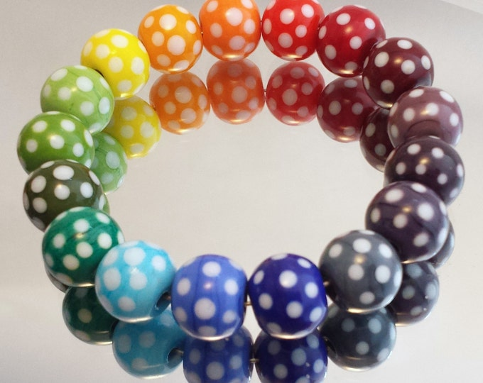 Featured listing image: Pick 'n' Mix Polka Dot Handmade Lampwork Round Beads in Rainbow colours - Suitable for earrings, bracelets or lace bobbin spangles