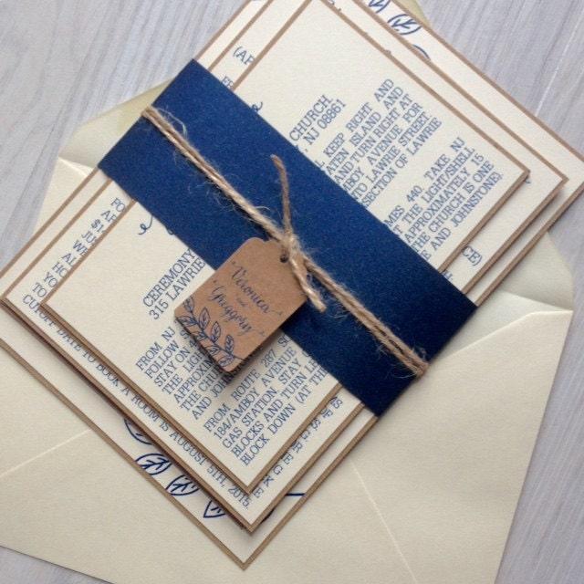 Rustic Wedding Invitation Navy And Ivory