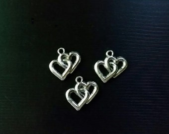 10 Double Heart Charms Silver Plated Metal Alloy 18mm Jewelry Supplies DHCPC18MM-10BC