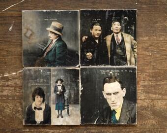 Mugshots Four Marble Tile Coasters - Set of 4 // criminals // true crime // vintage // colorized // jailbird // unusual decor