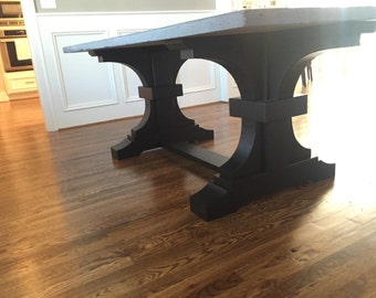 Concrete Top Dining Table with French Trestle Base