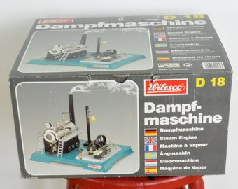 Wilesco Dampfmaschine Steam Engine Toy D 18 With Wilesco Workers 1980's New Never Used Still In Box