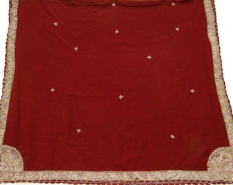 Maroon Veil Stole Hand Beaded Fabric Vintage Dupatta Used Fabric Long Indian Scarf Vintage Fabric Decorative Art DP18461