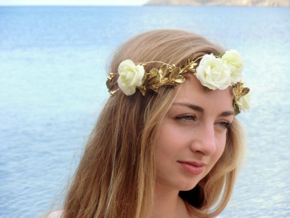 White  roses  flower crown, Gold Spring wedding hair accessories, Bridal headpiece, Floral headband, Ivory bridal headpiece