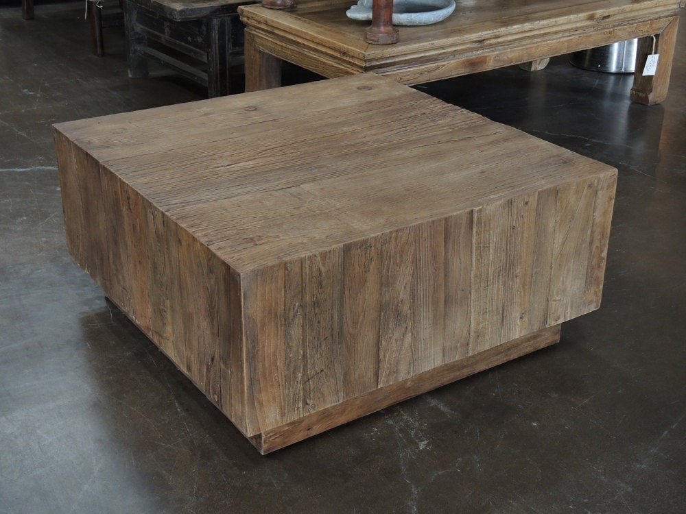 Reclaimed wood square coffee table by terra nova by for Reclaimed coffee table