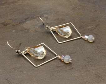 05 - Sterling Silver, Swarovski Crystals, Golden Shadow, Beige, Helix, Square, Neutral, Square, Dangle Earrings