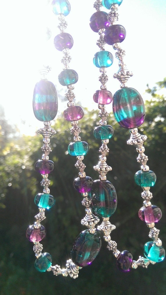 Teal and Purple Murano Glass Necklace
