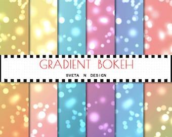 Bokeh Digital Papers Bokeh Textures Bokeh Paper Pack 6 psc JPG - Instant Download