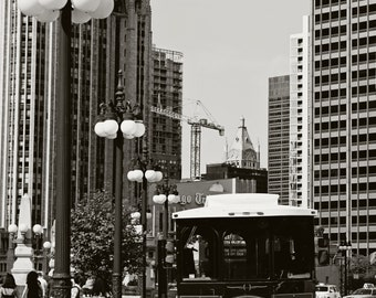 Transit Downtown Chicago, Urban, Architecture, Black and White, City Photography, Illinois
