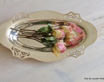 Antique Art Nouveau silver plated platter, Art Nouveau silver dish, silver pierced dish