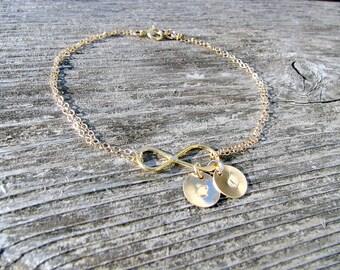 Personalized Infinity Bracelet monogram initials Custom hand stamped leafs Initial bracelet 14k Gold letter Bracelet Infinity Jewelry gift