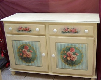 Shabby chic,Rustic,Vintage Dining Room Sideboard Cabinet with roses motives, Upcycled,Annie Sloan Chalk Paint-Cream