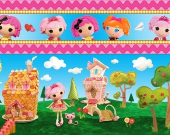 Per Yard, LaLa Loopsy Cute as a Button Strip Fabric From Quilting Treasures