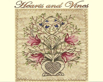 Hearts and Vines - Melissa - Hand Embroidery Pattern by Beth Ritter - Instant Digital Download