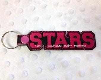 STARS Custom Name - In The Hoop - Snap/Rivet Key Fob - DIGITAL Embroidery DESIGN