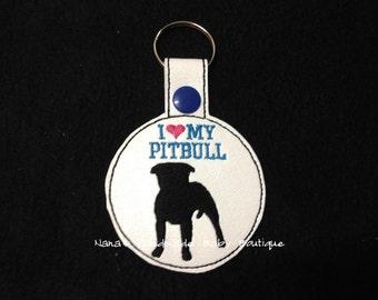 I Love My Pitbull- Pitbull Terrier In The Hoop - Snap/Rivet Key Fob - DIGITAL Embroidery Design