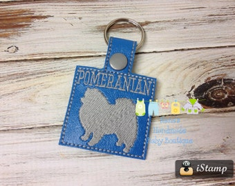 POMERANIAN - In The Hoop - Snap/Rivet Key Fob - DIGITAL Embroidery Design