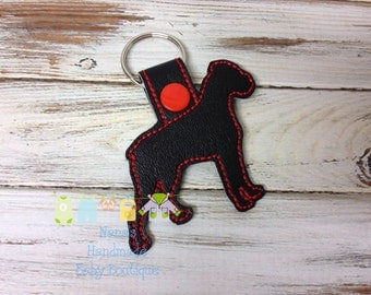 BOXER Outline NATURAL Ears- Boxer Dog -  In The Hoop - Snap/Rivet Key Fob - DIGITAL Embroidery Design