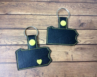 Pennsylvania -  Heart for the City - In The Hoop - Snap/Rivet Key Fob - DIGITAL Embroidery Design