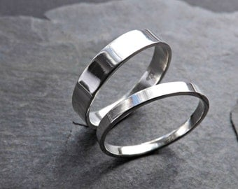 flat silver ring set slim and simple, matching wedding bands his and hers promise rings silver wedding rings, budget wedding rings