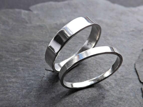 schlichte Eheringe Silber, minimalistische Trauringe, Ringset flache ...