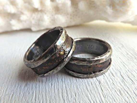 Personalized Wedding Rings Bronze Wedding Bands By CrazyAssJD