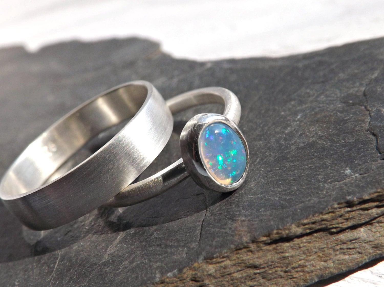 opal wedding ring set delicate opal ring silver white opal