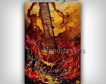 GUITAR Painting, Original MUSIC ART, Red and gold music wall decor, musicians gift, Guitar art, gift for friend, hipster, rock n roll art,