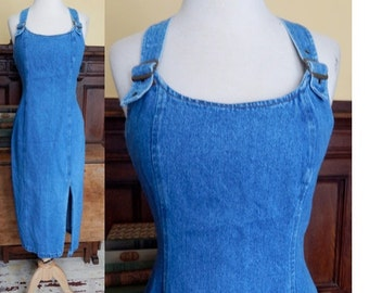 Vintage 90's grunge faded blue denim buckle overalls dress bodycon tight fit pinafore boho chic dress midi