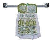Fern Hanging Towel, Button Closure, Tea Towel, Kitchen Hand Towel, Kitchen Accessory, Stove Towel, Dish Towel, Towel with Ties, Foliage
