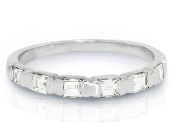 0.50ctw Baguette Diamond Channel Set Wedding Band Anniversary Ring White Gold