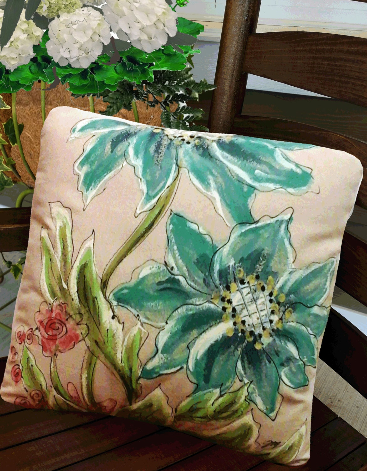 Entry Bench Pillow Turquoise Watercolor Pillow Watercolor
