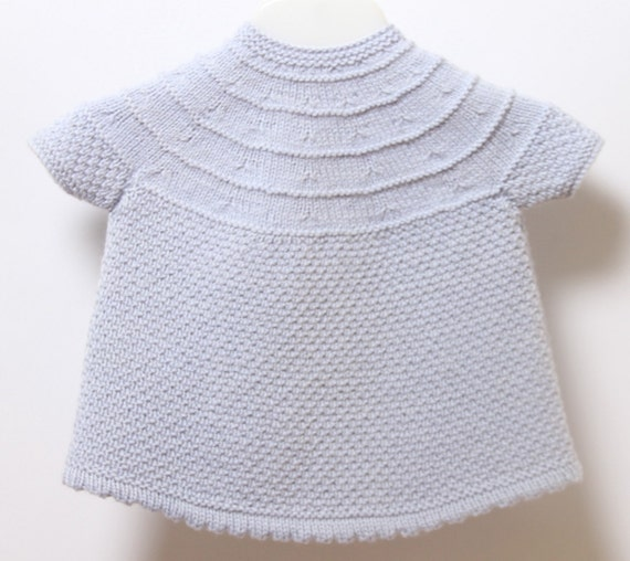 Baby Knitting Patterns With Instructions : Baby Dress / Knitting Pattern Instructions in English / PDF