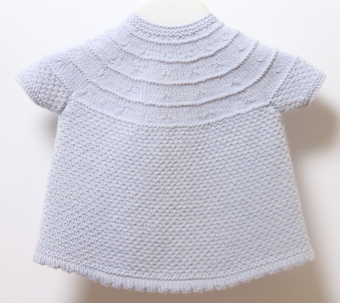 French Baby Knitting Patterns : Baby Dress / Knitting Pattern Instructions in French / PDF Instant Download /...