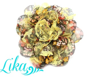 Yellow Floral Lace Flower - Chiffon Flower - Lace rose - Shredded Lace Flower - Yellow Floral - Wholesale - Supply - DIY- 3.75 inch