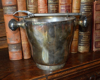 Vintage English Silver Plated Wine Champagne Ice Bucket with Ice Tongs Set