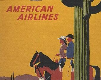 """Vintage Travel, to the ARIZONA desert., Southwest, tourism, 11 x 14"""" canvas art print. FREE ship US"""